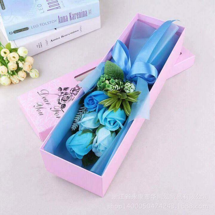 hoa hồng sáp thơm 5 bông xanh cao cấp