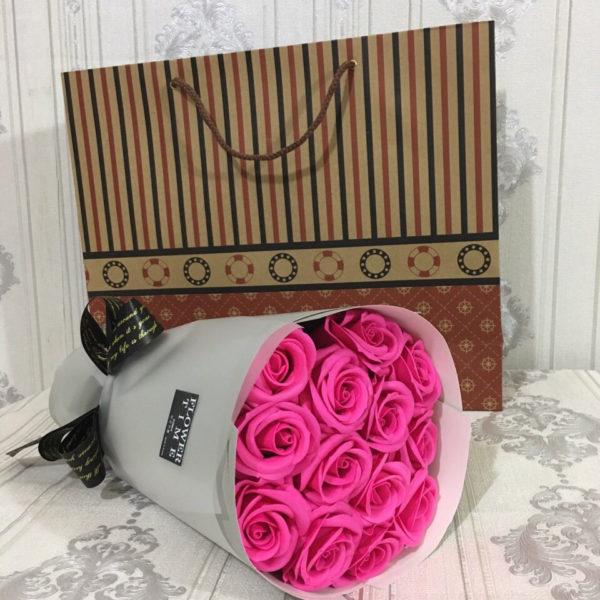 bó hoa hồng sáp thơm 11 bông hồng sen