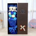hộp hoa hồng sáp thơm 9 bông xanh có gấu