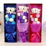 hộp hoa hồng sáp thơm 9 bông có gấu